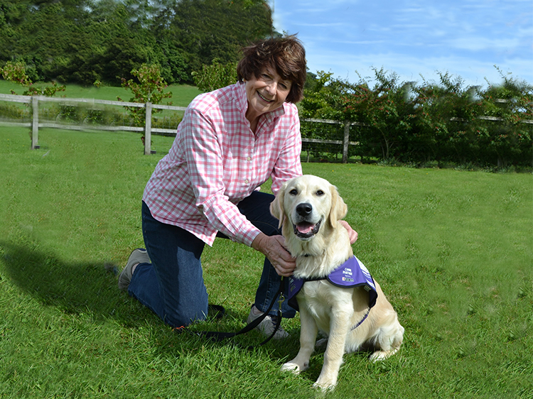 Poet Pam Ayres with assistance dog Hamlin