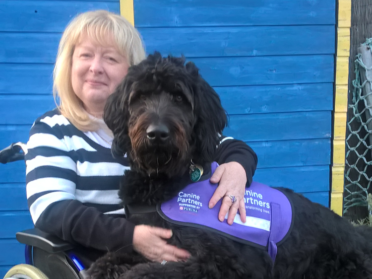 Canine Partners trustee Claire Graham with her assistance dog Frankland