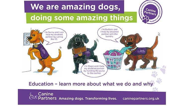 Canine Partners educational flyer for schools featuring cartoon dogs performing task work for disabled partners