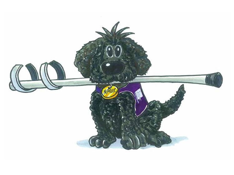 Cartoon illustration of a puppy carrying a crutch in its mouth to demonstrate the work assistance dogs do to support physically disabled people