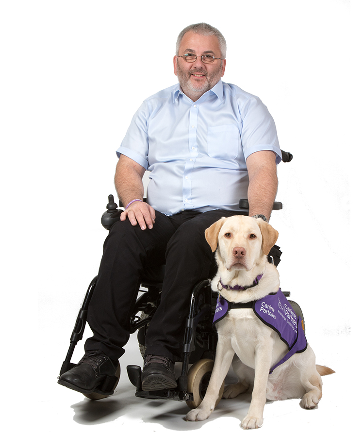 Martin Smailes with assistance dog Keith