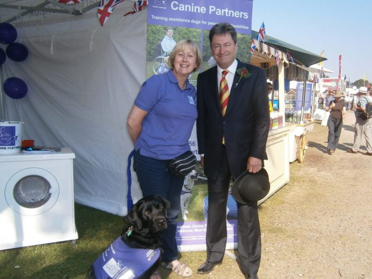 TV presenter Alan Titchmarsh with demo dog Yarna and volunteer Ali Bailey