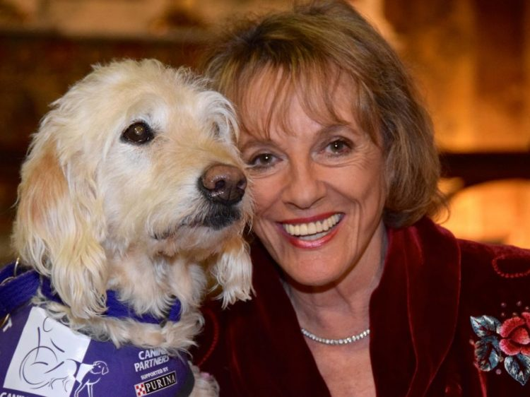 TV presenter Esther Rantzen with demo dog Saffy