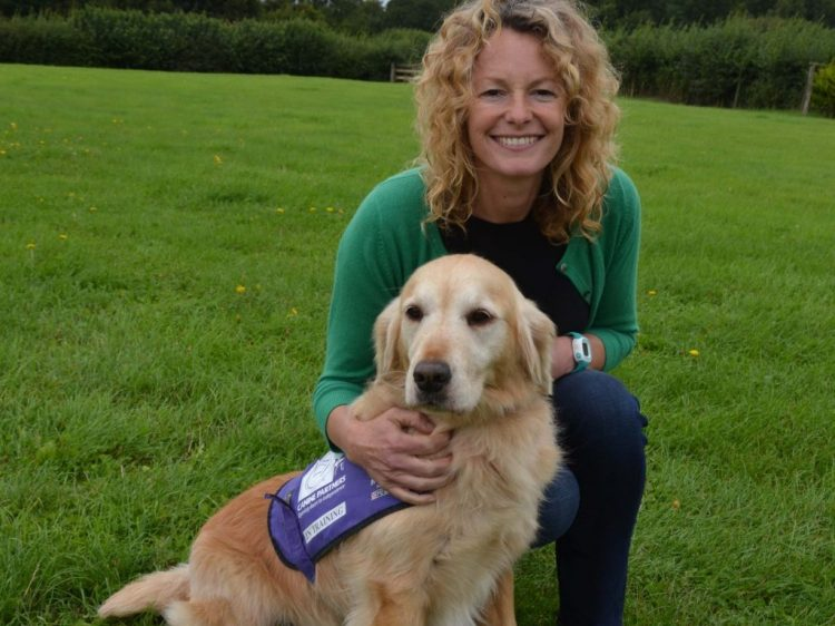 TV presenter Kate Humble with demo dog Angel