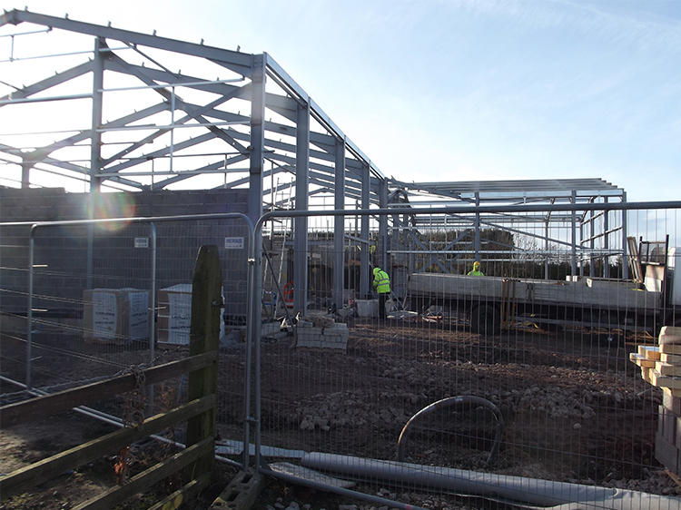 Canine Partners Midlands training centre main building structure under construction in December 2013