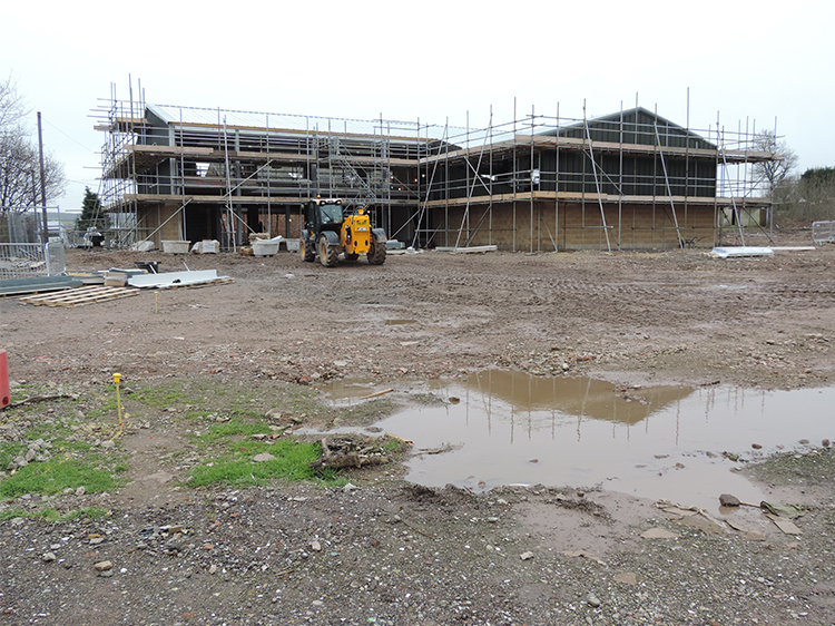 Canine Partners Midlands training centre in February 2014 with scaffolding