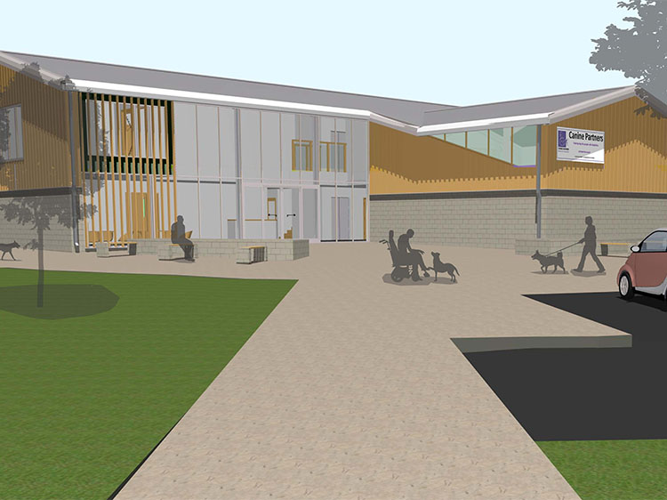 Architect drawing of the main building at Canine Partners Midlands Centre in Leicestershire