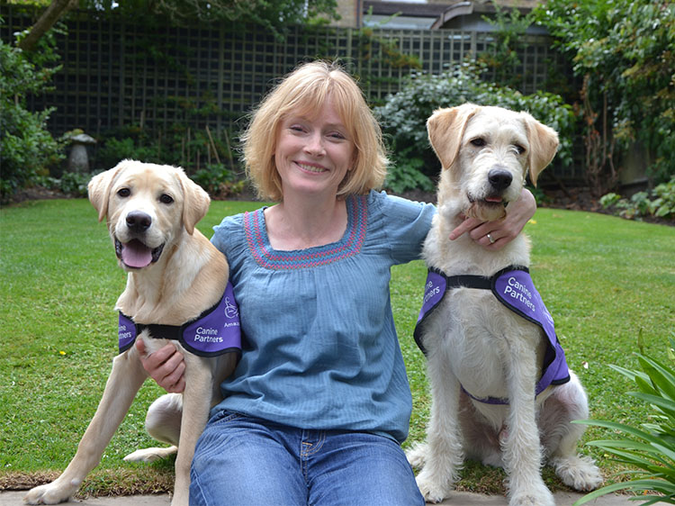 Actress Claire Skinner with Trinity and Sandos