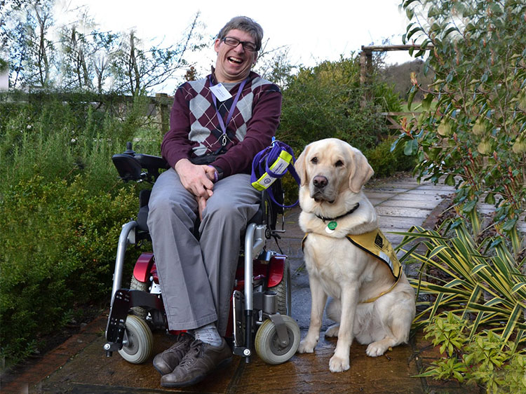 Dual dog Yeti is trained as a hearing dog and Canine Partner, he wears a yellow jacket and is photographed here with his partner Glen who is in a wheelchair