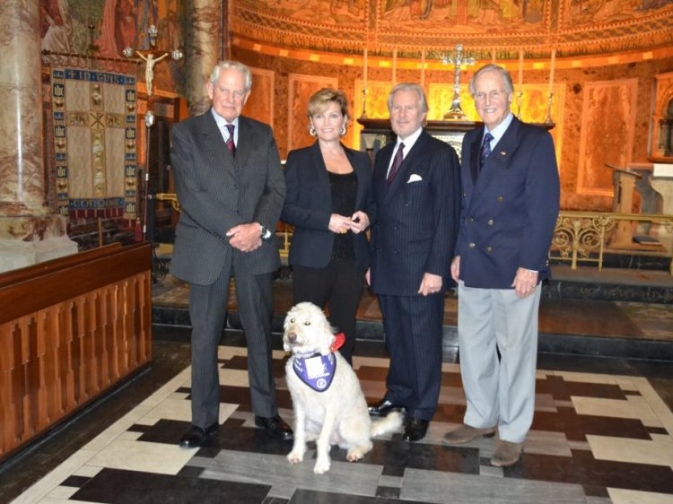 From left to right; Colonel Blashford-Snell, actress Fiona Fullerton, actor David Robb and television presenter Nicholas Parsons at Canine Partners Draycott Carol Service 2015