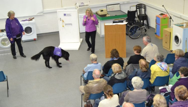 Jane Grant presenting a Canine Partners Information session, showcasing the task work the dogs can do