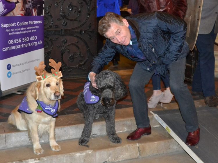 Anthony Andrews, demo dog Doyle and meet and greet dog Jenson