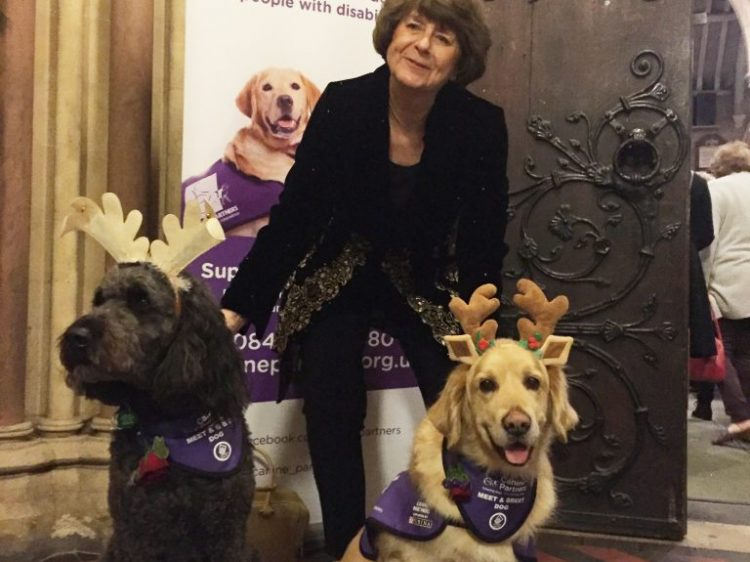 Pam Ayres with demo dog Doyle and meet and greet dog Jenson