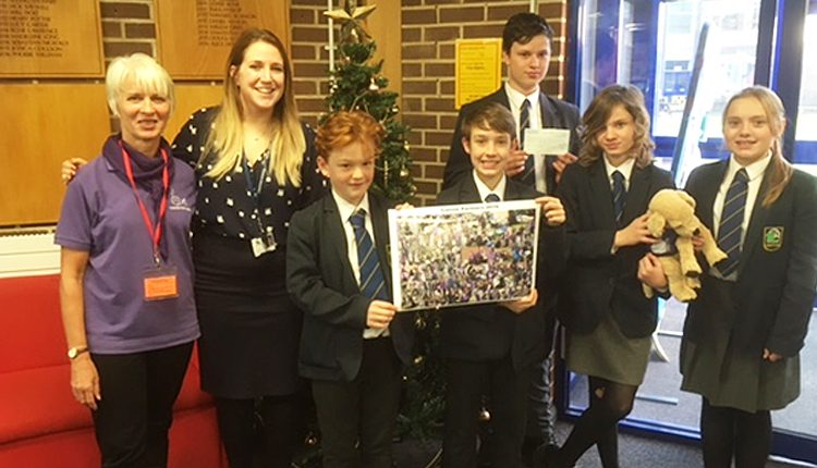 Canine Partners volunteer Bev Scammell with Crofton School teacher and students
