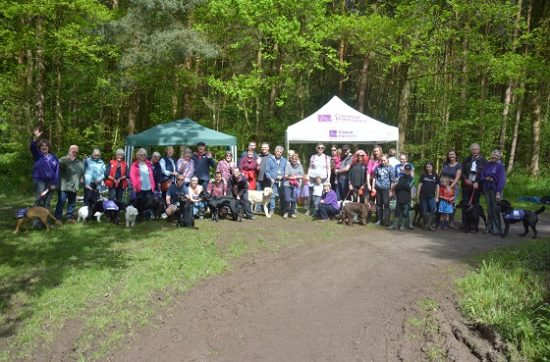 Crowd of attendees at Canine Partners Bluebell Walk, Martinshaw Wood