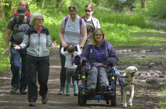 Kate Cross and canine partner May with friends and family at the Martinshaw Wood Bluebell Walk