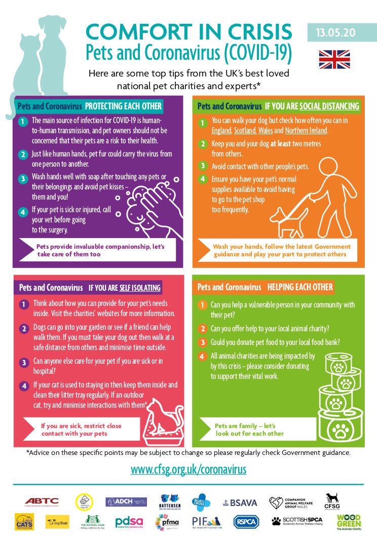 Infographic on COVID-19 tips from pet charities