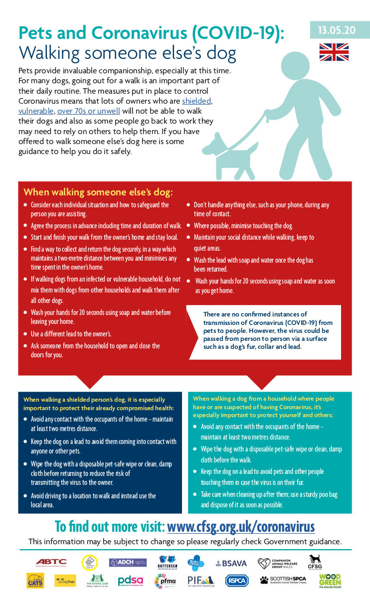 Infographic on dog walking and COVID-19