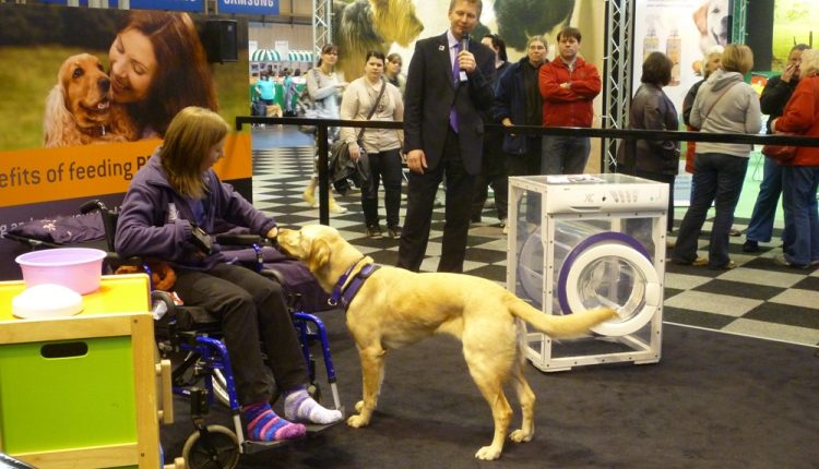 Canine Partner assistance dog demonstration on Purina exhibition stand